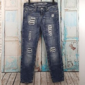 Express Slim Fit Ultra Low Distressed Jeans